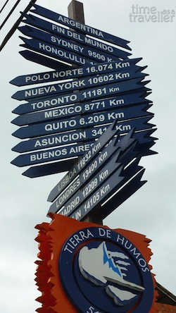 Ushuaia sign saying distance to countries