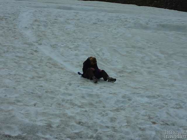 sliding down a glacier in Ushuaia